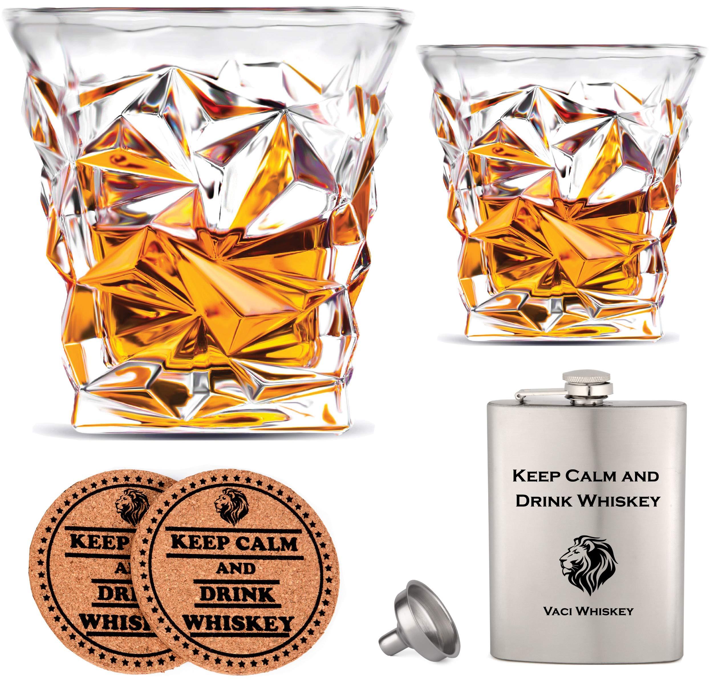 Vaci Crystal Whiskey Glasses – Set of 2 Bourbon Glasses, Tumblers for Drinking Scotch, Cognac, Irish Whisky, Large 10oz…