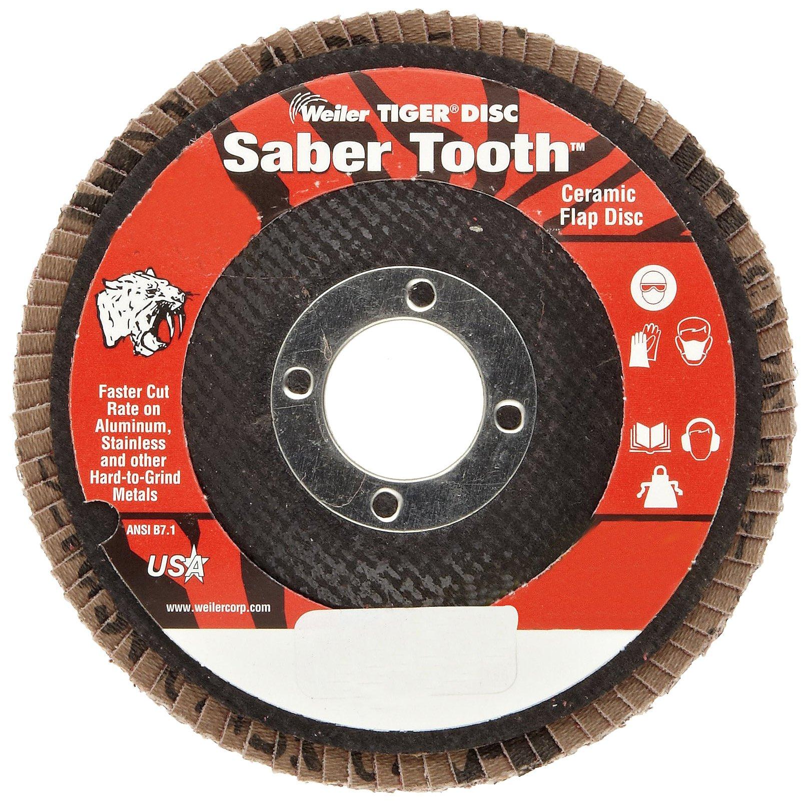 Weiler Saber Tooth Abrasive Flap Disc, Type 29, Round Hole, Phenolic Backing, Ceramic Aluminum Oxide, 4-1/2'' Dia., 80 Grit (Pack of 1)