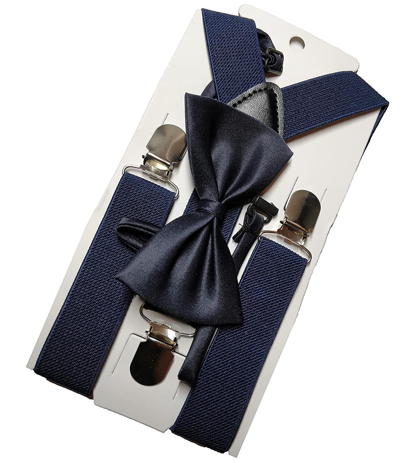 Navy Bow Tie and Suspender Set - Imported Premium Material for Boys, Toddlers