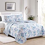 Great Bay Home April Morning Collection 3 Piece Quilt Set with Shams. Reversible Floral Bedspread Coverlet. Machine…