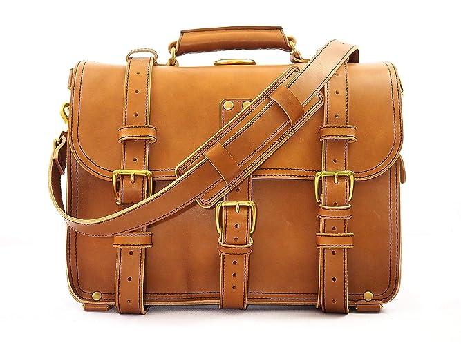 6c0c1723c6 Amazon.com  Double Space Briefcase - Heavy Duty Leather Messenger ...