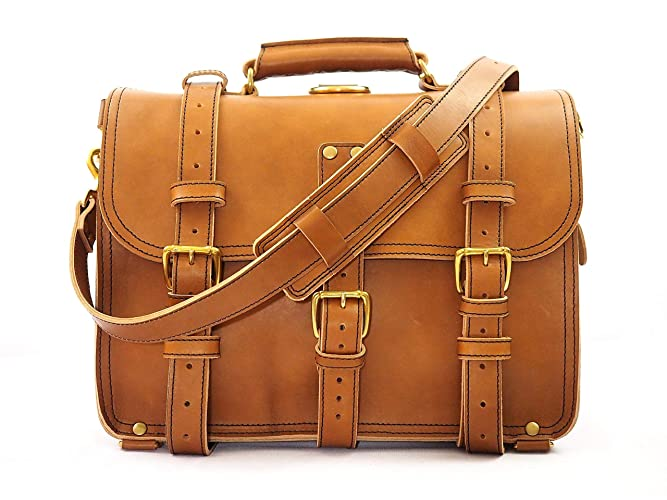 b018c30971e0 Amazon.com  Double Space Briefcase - Heavy Duty Leather Messenger ...