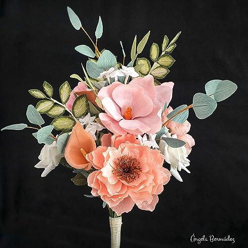 Amazon Com Crepe Paper Flower Bridal Bouquet With Magnolias