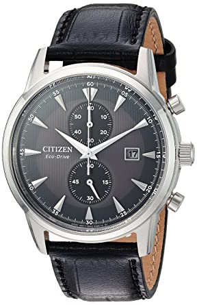 b2f4d783a Amazon.com: Citizen Men's 'Eco-Drive' Quartz Stainless Steel and Leather  Dress Watch, Color:Black (Model: CA7000-04H): Watches