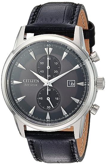 Citizen Men's 'Eco-Drive' Quartz Stainless Steel and Leather Dress Watch, Color:Black (Model: CA7000-04H)