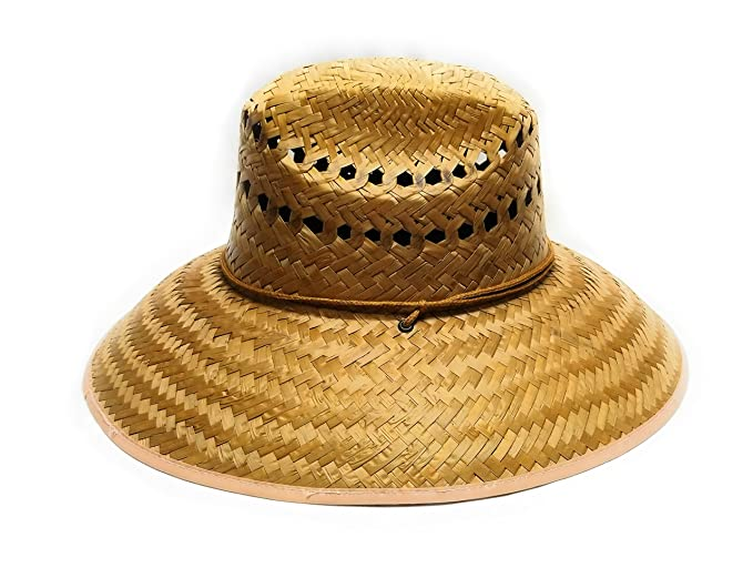 J.J. Mexican Palm Leaf Straw Super Wide Brim Lifeguard Hat with Chin Strap 02011eb7a2b