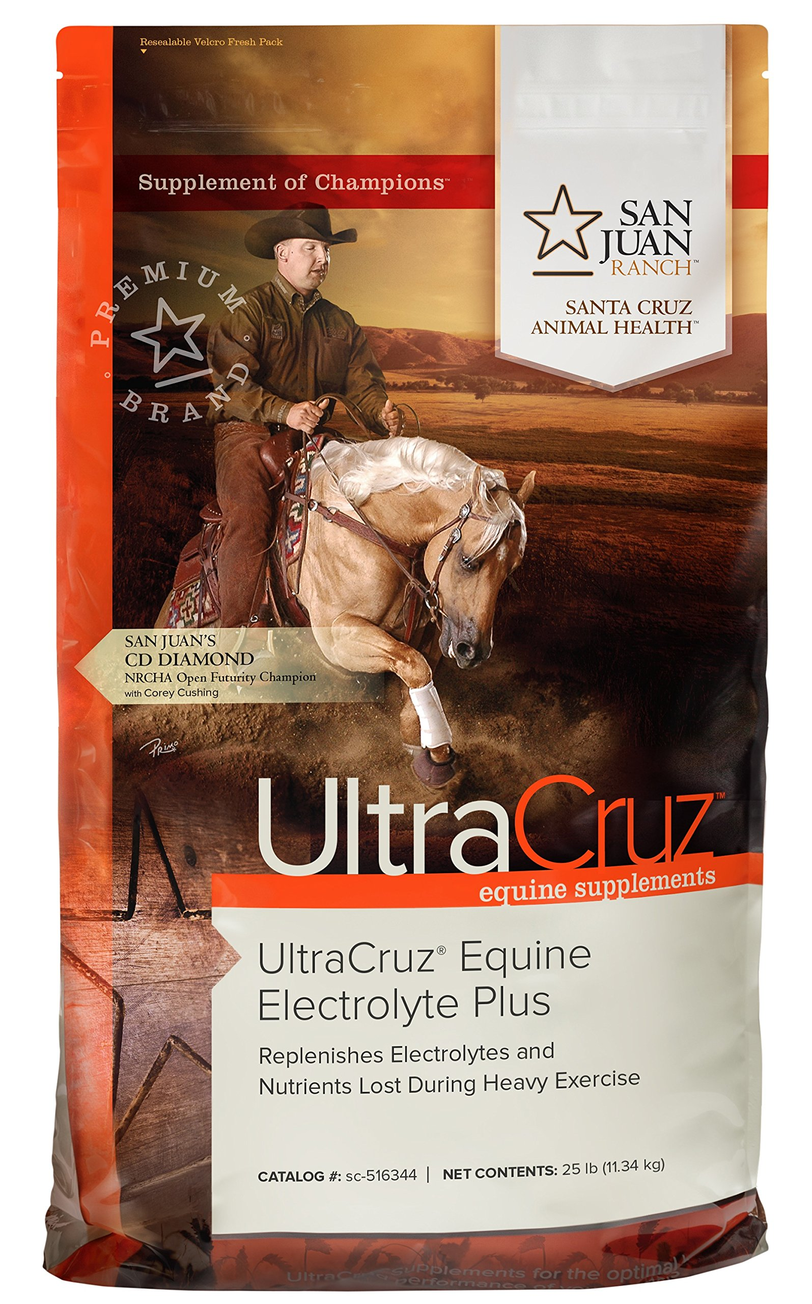 UltraCruz Equine Electrolyte Plus Supplement for Horses, 25 lb, Pellet (93 Day Supply)