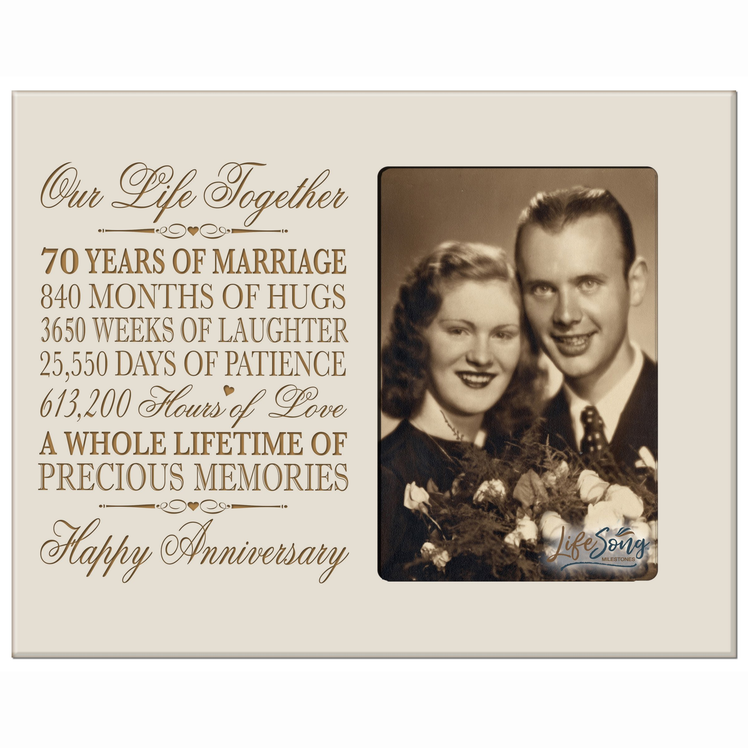 LifeSong Milestones 70th for Her Him 70 Year Wedding for Couple Parents Celebration Gift Picture Frame Holds 1 4x6 Photo 8'' h X 10'' w (Ivory)