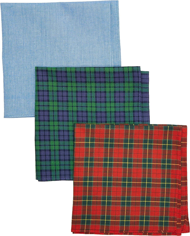 Hackett Hombres algodón tartán bolsillo cuadrado tres paquete Verde