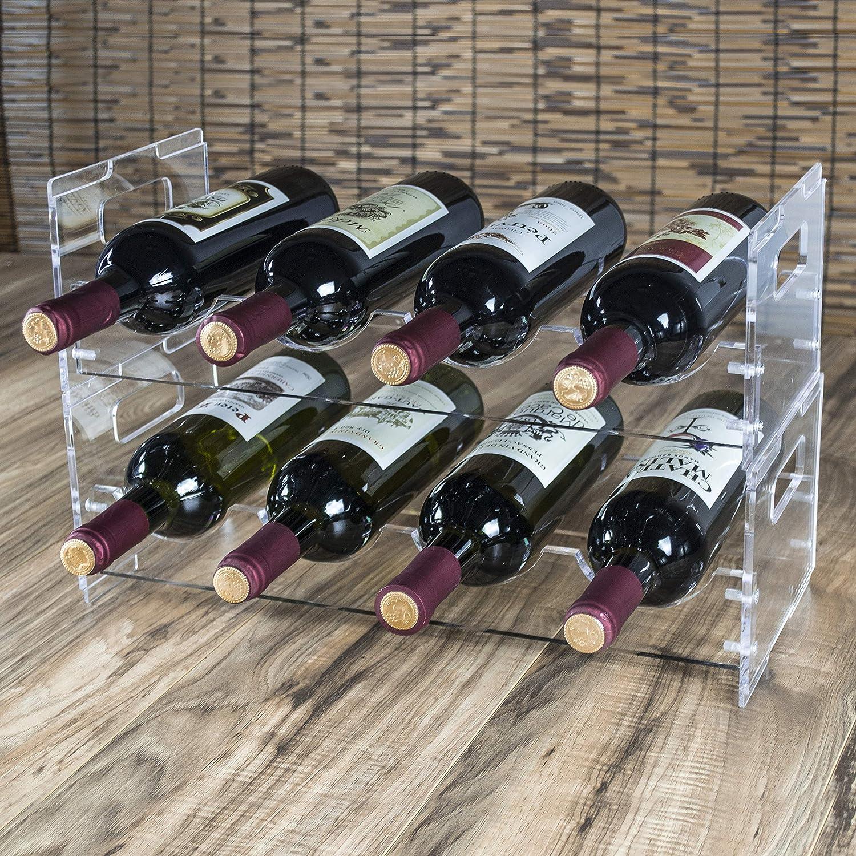 MyGift Modern Clear Acrylic Freestanding Stackable 8 Bottle Organizer Display Wine Rack 2 Piece Set