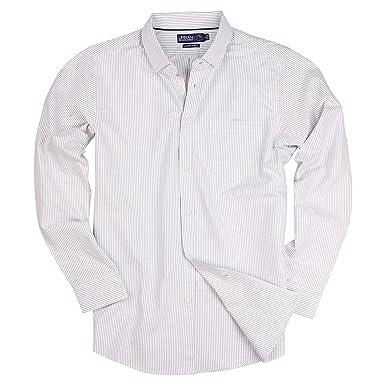 57039bd0c Long Sleeve Striped Button Down Cotton Oxford Shirts for Men (Grey Stripe,  Regular Fit
