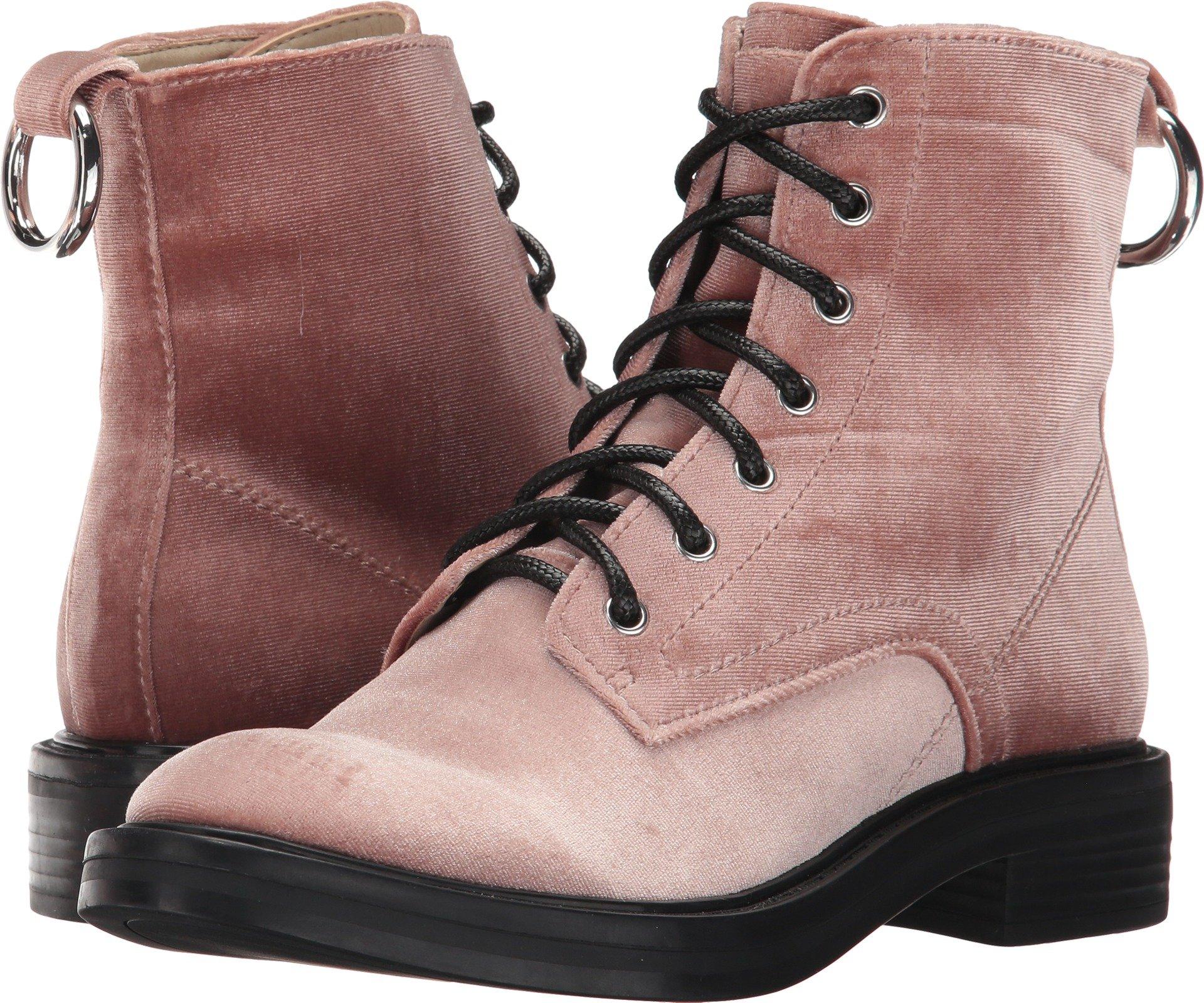 Dolce Vita Women's Bardot Combat Boot, Rose Velvet, 8 Medium US