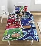 PJ Mask Set copripiumino con personaggi del fumetto, in poliestere e cotone, colori vivaci, piazza singola