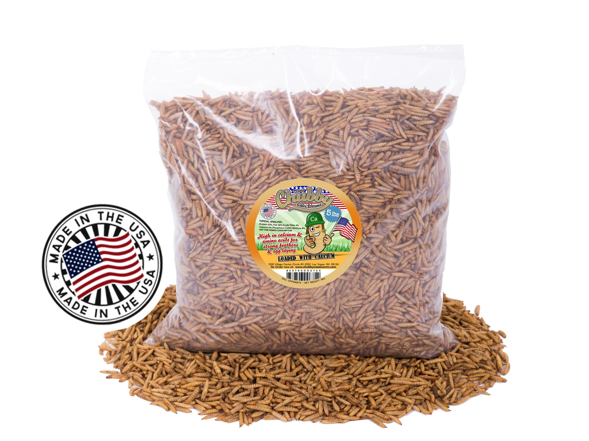 5Lbs Chubby Dried Calci Worms - 100% MADE IN THE USA - Black Soldier Fly Larvae - Wild Bird/Chicken Treats