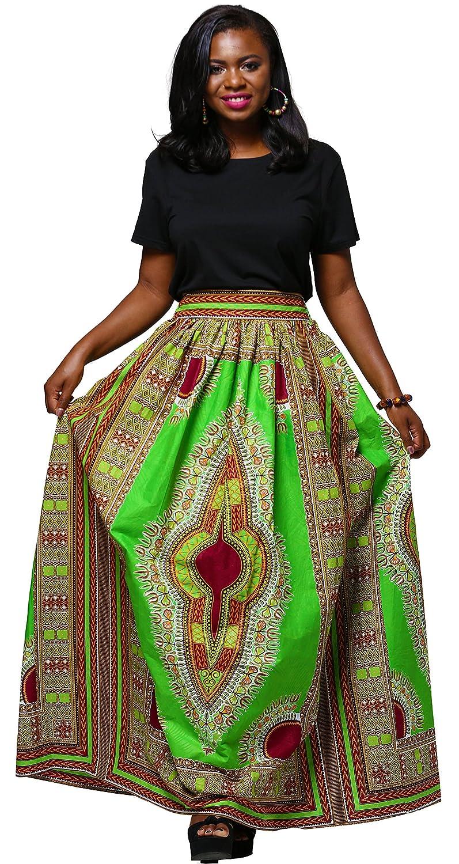 Women African Traditional Costume Ankara Print Skirt Dashiki Long Skirts
