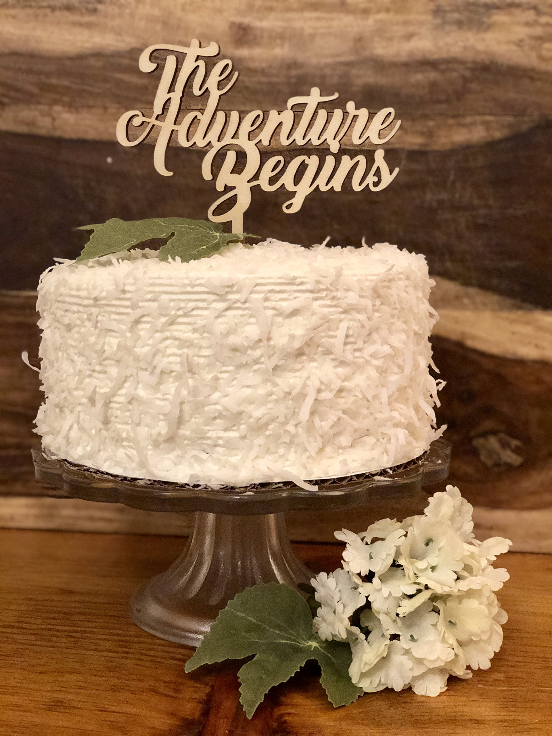 Wedding Cake Topper- Natural Wood''The Adventure Begins''