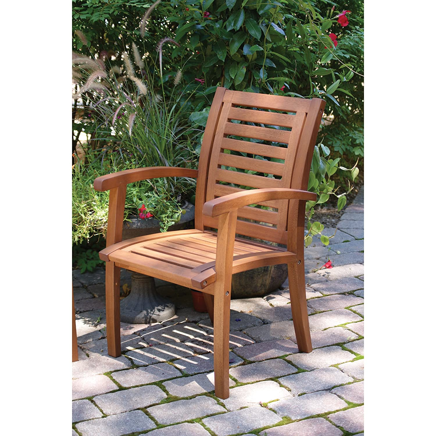 Superb Amazon.com : Outdoor Interiors 21090 Luxe Eucalyptus Arm Chair : Patio  Dining Chairs : Garden U0026 Outdoor