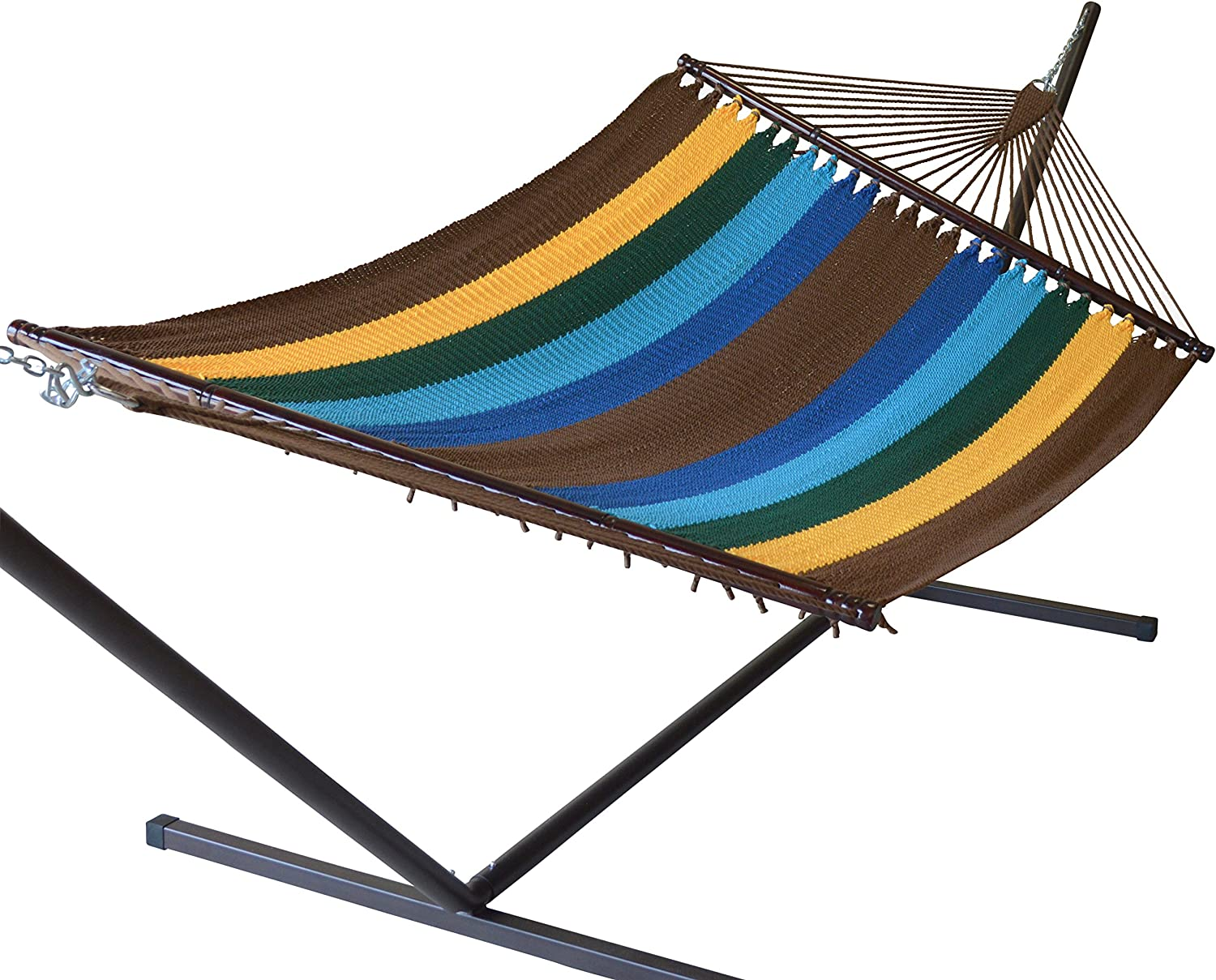 "Caribbean Hammocks 55"" Wide Jumbo Caribbean Hammock - Multi Color Yellow - 600 lb Weight Capacity"