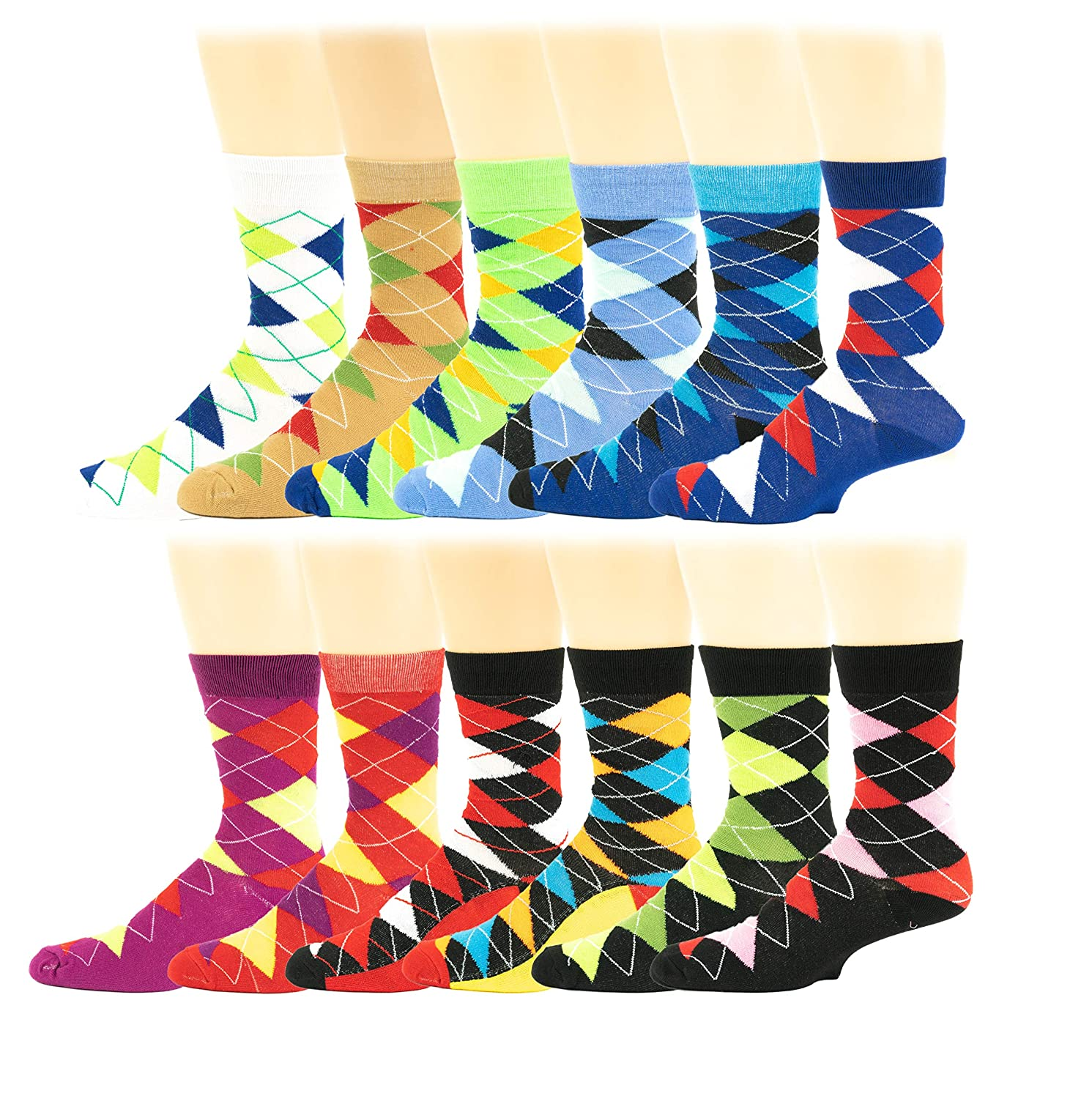 12 Pairs/6 Pairs Colorful Fashion Design Dress socks 10-13