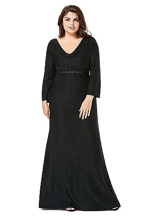 Myfeel Plus Size Formal Party Dress Sequin Elegant Heaps Collar
