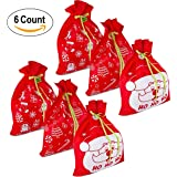 """6 Giant Christmas Gift Bags 36"""" x 44"""" Reusable Made of Durable Fabric with Ribbon and Gift Tag for Holiday Wrapping Extra Large Jumbo Huge Oversized Toys Gift Bags by Gift Boutique"""