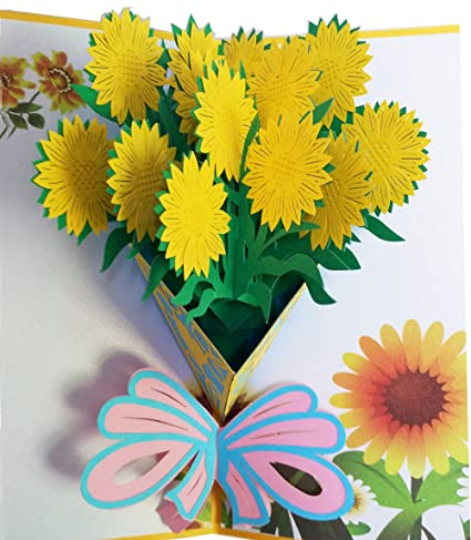 Amazon Com Pop Up Card Sunflower 3d Greeting Card All
