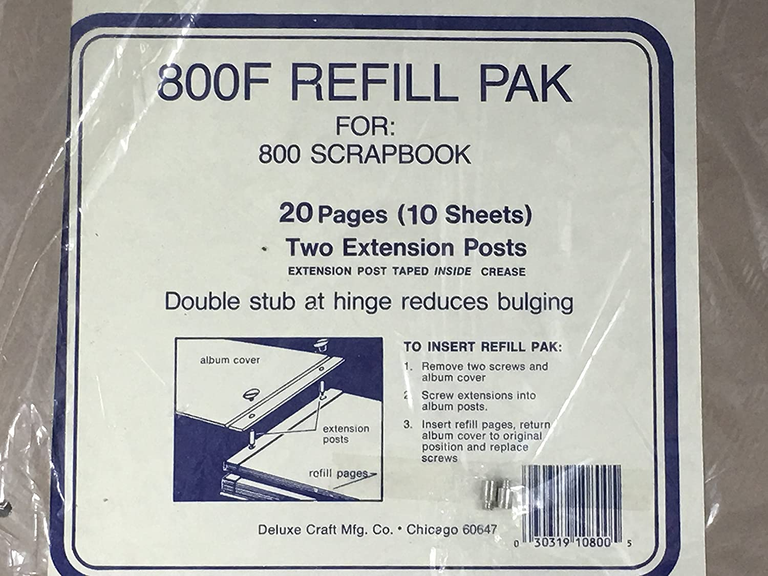 Two Extension Posts 800F Refill Pak for 800 Scrapbook 20 Pages 10 Sheets