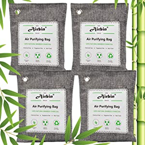 Airbin Bamboo Charcoal Air Purifying Bags 4 Pack,Natural Air Freshener, Odor Absorber for Home, Pets, Shoes, Closet Deodorizer