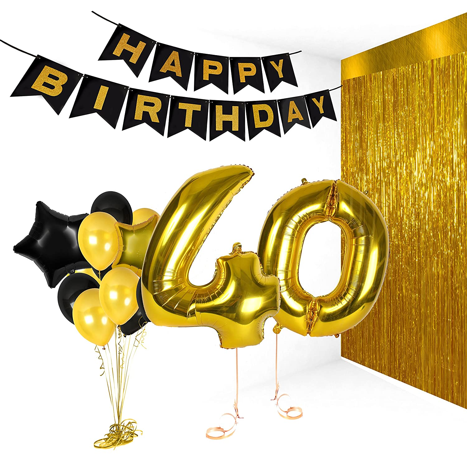 Amazon 40th Birthday Metallic Decorations Ideas Gifts For Women And Men Photo Booth Props Happy Bday Garlands Gold Backdrop Centerpieces Party