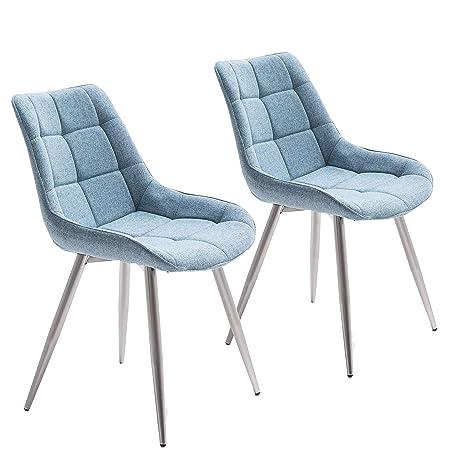 68659f4b97cb3b homica 2er Set Esszimmerstuhl Polsterstuhl Vierfußstuhl Steppung  ergonomische Sitzschale Stoff Blau Metallfüße in Edelstahloptik