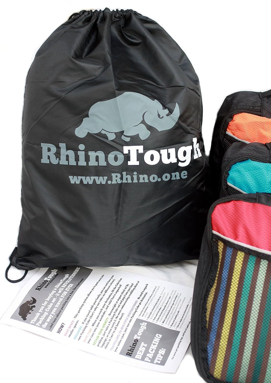 Rhino Tough - Conjunto de 3 embalajes calidad premium con cremalleras extra fuertes Rhino Tough, tamaño mediano, profundos, código de colores más gratis ...