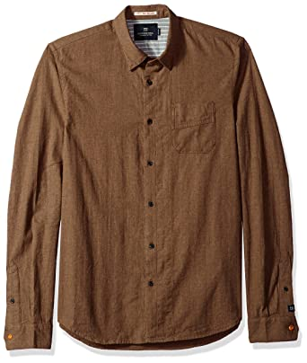 ab27100415d Scotch & Soda Men's Brushed Cotton Shirt, Bandit Brown Melange, ...