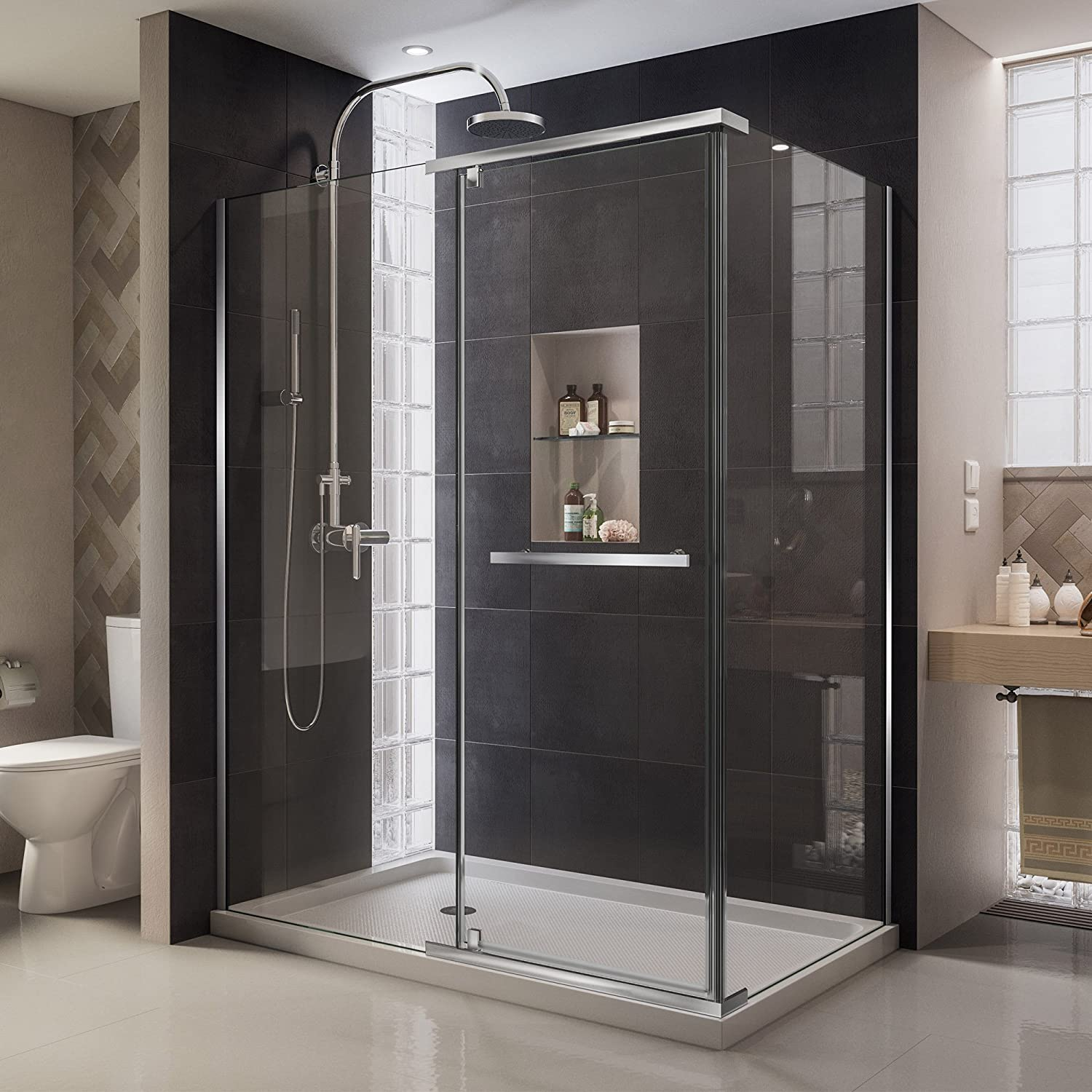 DreamLine Quatra 32 5 16 in. D x 46 5 8 in. W x 72 in. H Frameless Pivot Shower Enclosure in Chrome, SHEN-1132460-01