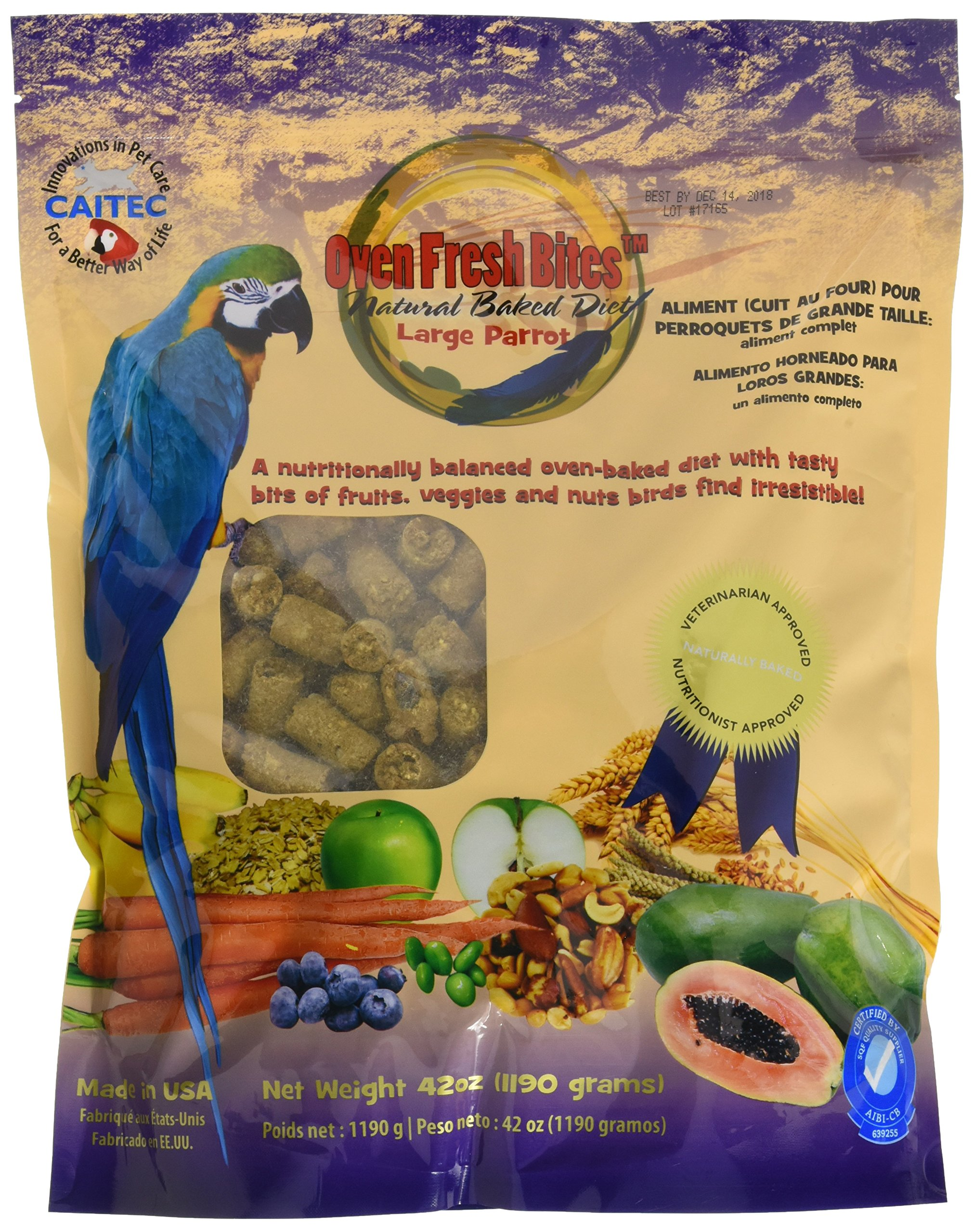 Oven Fresh Bites Freshly Baked Pet Bird Food, For Amazons, Cockatoos and Macaws, 42-Ounce Resealable Package by Oven Fresh Bites