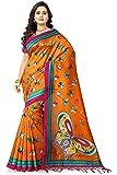 Jaanvi Fashion Women's Art Silk Kalamkari Printed Saree (Orange)