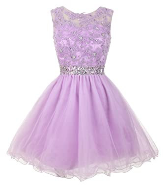 cdc5ef35cdd Mamilove Women s Tulle Short Applique Beading Formal Homecoming Cocktail  Party Dress 2 Lavender