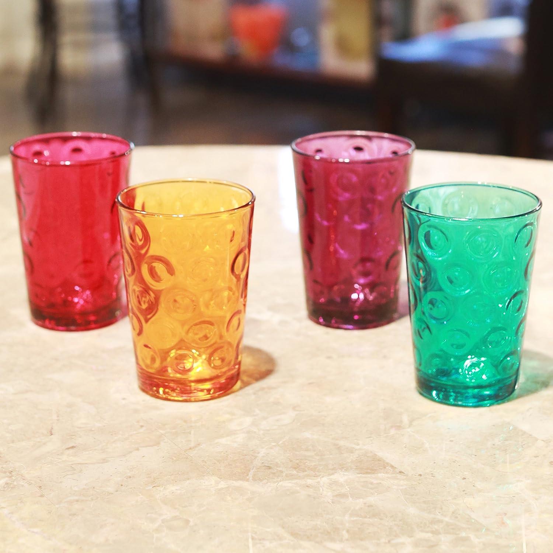 Orange Aqua Circleware 44299 Circle Tumbler Colored Cooler Beverage Glasses Juice Beer Fuchsia Heavy Base Drinking Highball Purple Set of 4-17 oz Ice Tea 4pc Home Kitchen Cups for Water Milk