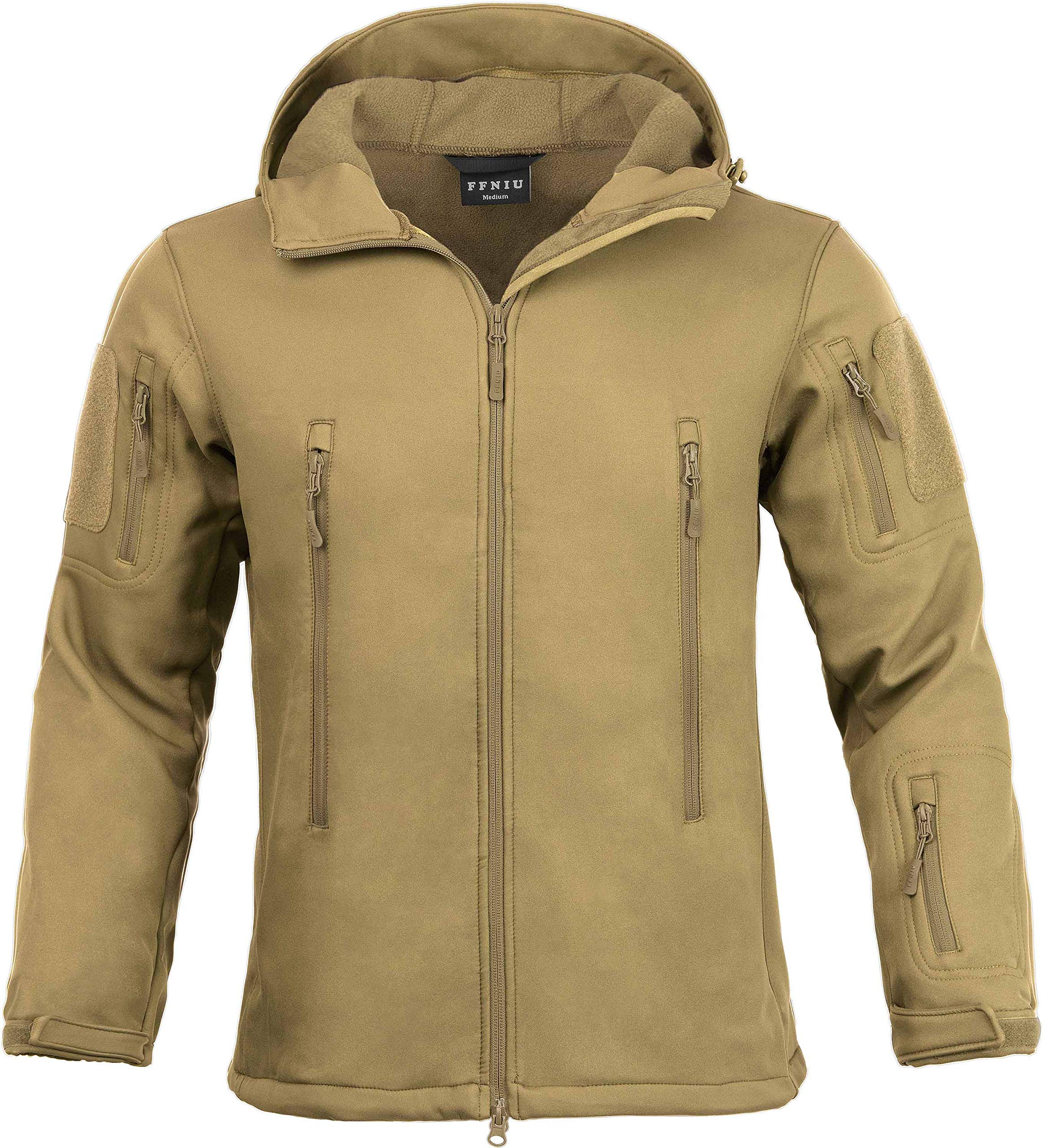Tactical Jacket for Men Water Repellent Windproof Coat Big Tall Mens Fleece Lined Softshell Jackets by FFNIU