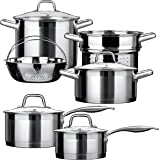 Duxtop SSIB Stainless Steel Induction Cookware Set, Impact-bonded Technology (10 Pieces)