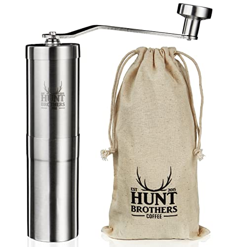 Hunt Brothers Coffee Grinder | Award Winning Coffee Mill | Best Conical Burr for Precision Brewing | Consistent Grind | Aeropress Compatible, Perfect for Traveling