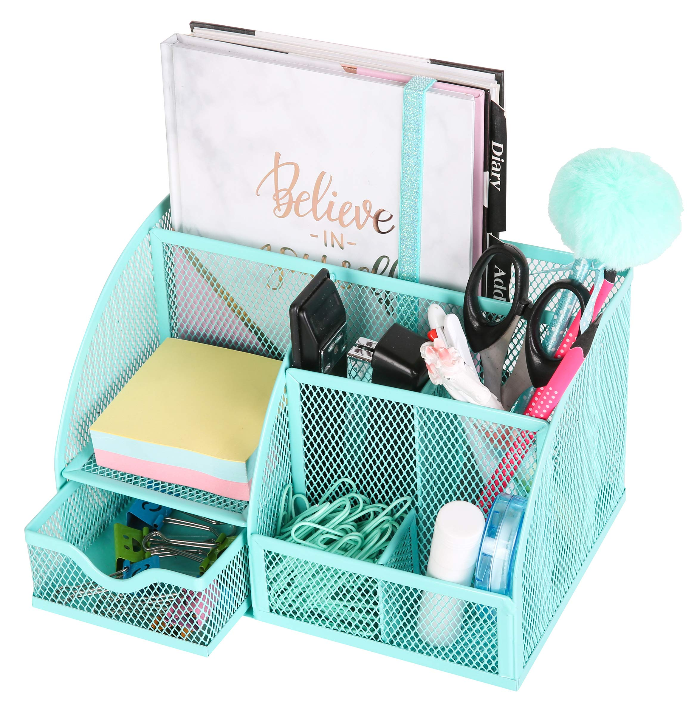 Exerz Mesh Desk Organizer Office with 6 Compartments + Drawer/Desk Tidy Candy/Pen Holder/Multifunctional Organizer EX348 Turquoise by Exerz