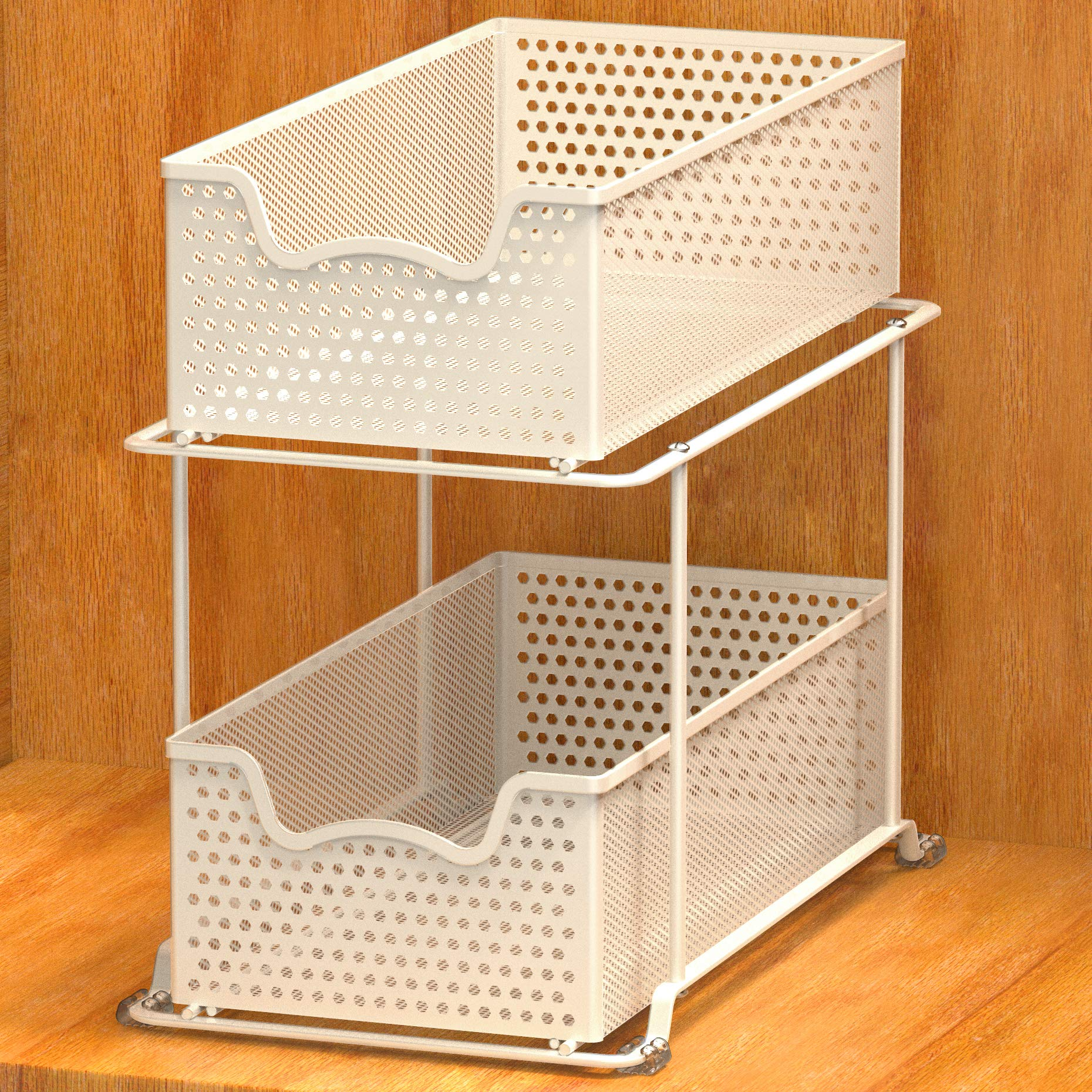 Bronze Simple Houseware Stackable 3 Tier Sliding Basket Organizer Drawer