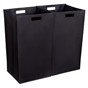 Internet's Best Collapsible Laundry Hamper | Set of 2 | Dirty Clothes Sorter with Handles | Magnetic Side | Easy Storage | Folding | Black