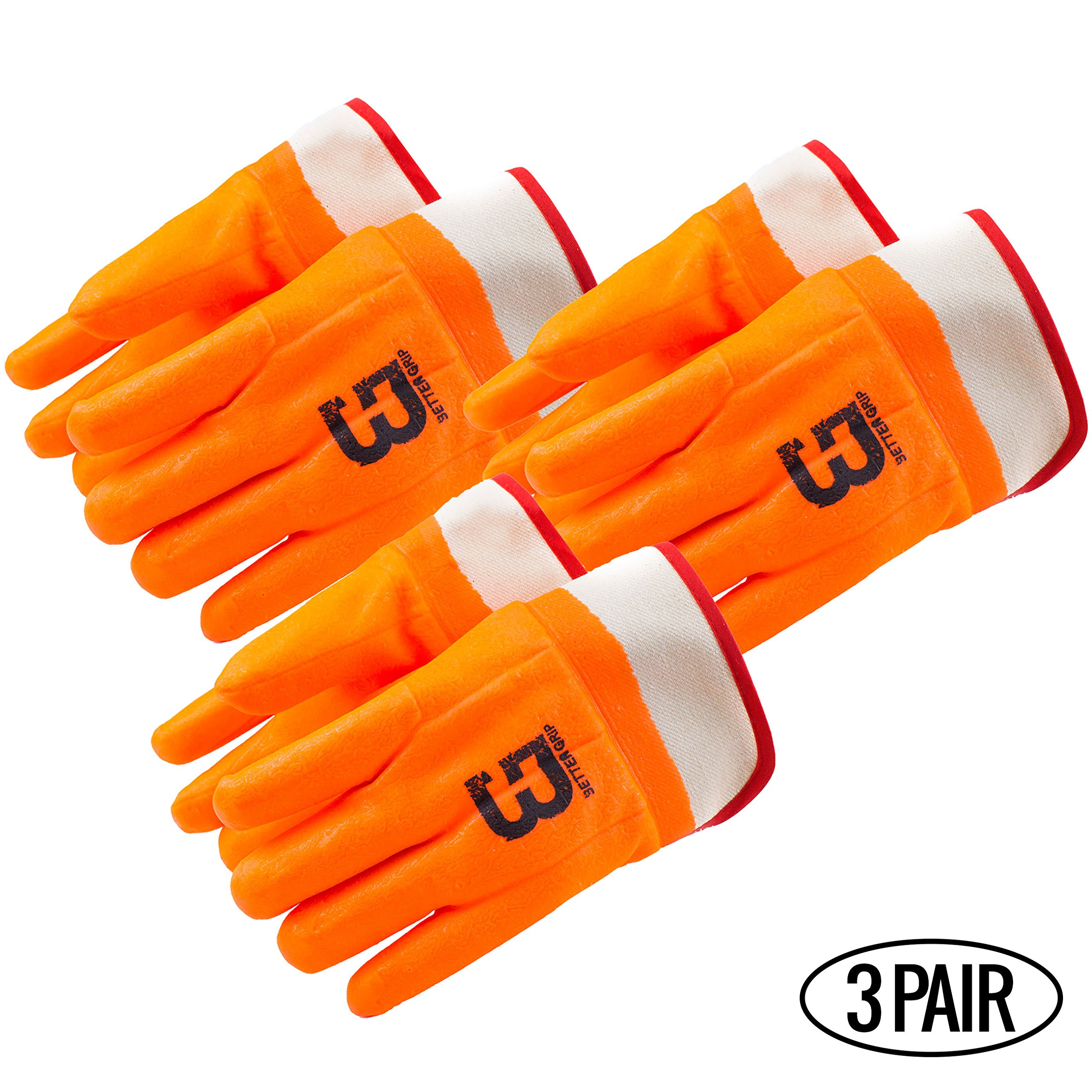 Better Grip Heavy Duty Premium Sandy finished PVC Coated-Supported Glove with Safety Cuff, Chemical Resistant, Large, Fluorescent Orange (3 Pairs)