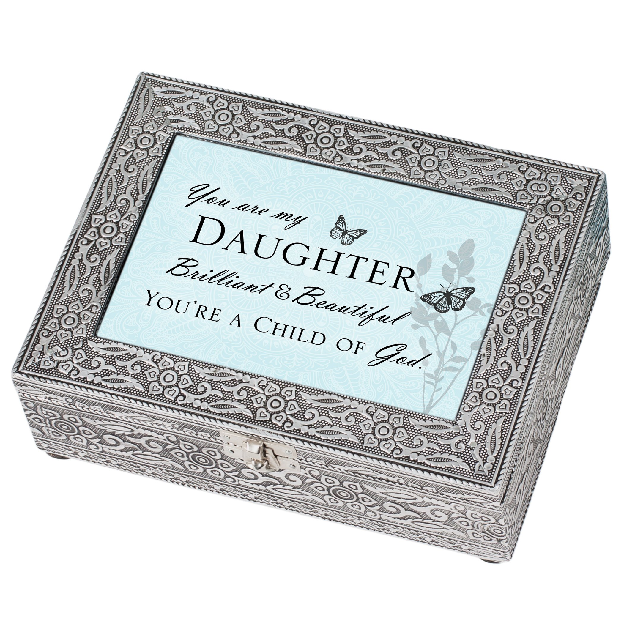 Cottage Garden Daughter Beautiful Child of God Silver Stamped Metal Jewelry Music Box Plays Tune Amazing Grace