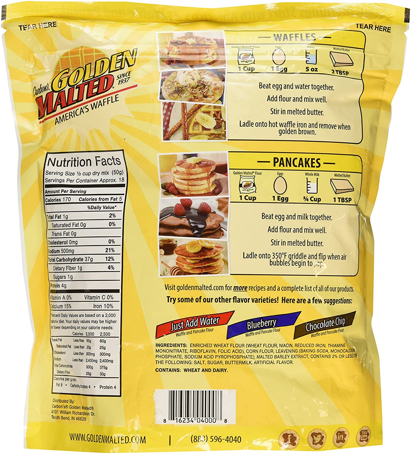 Com Carbon S Golden Malted Pancake Waffle Flour Mix Original 32 Ounces Pack Of Two Grocery Gourmet Food