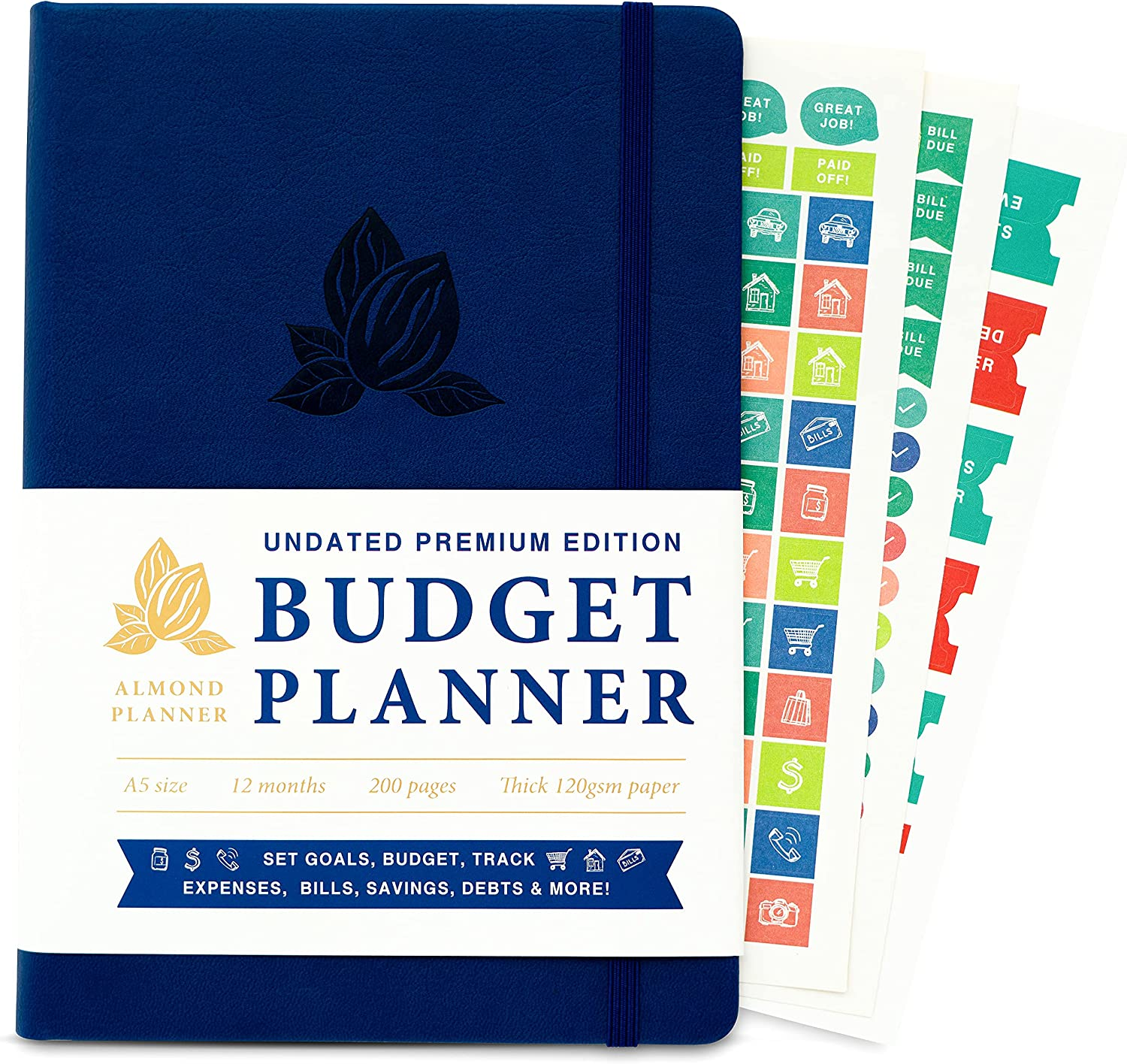 ALMOND PLANNER Monthly Budget Planner 2021 - Undated Finance Planner Bill Organizer, Expense and Bill Tracker Notebook For Saving Money, Paying debts, Financial Budget Book - A5 Blue