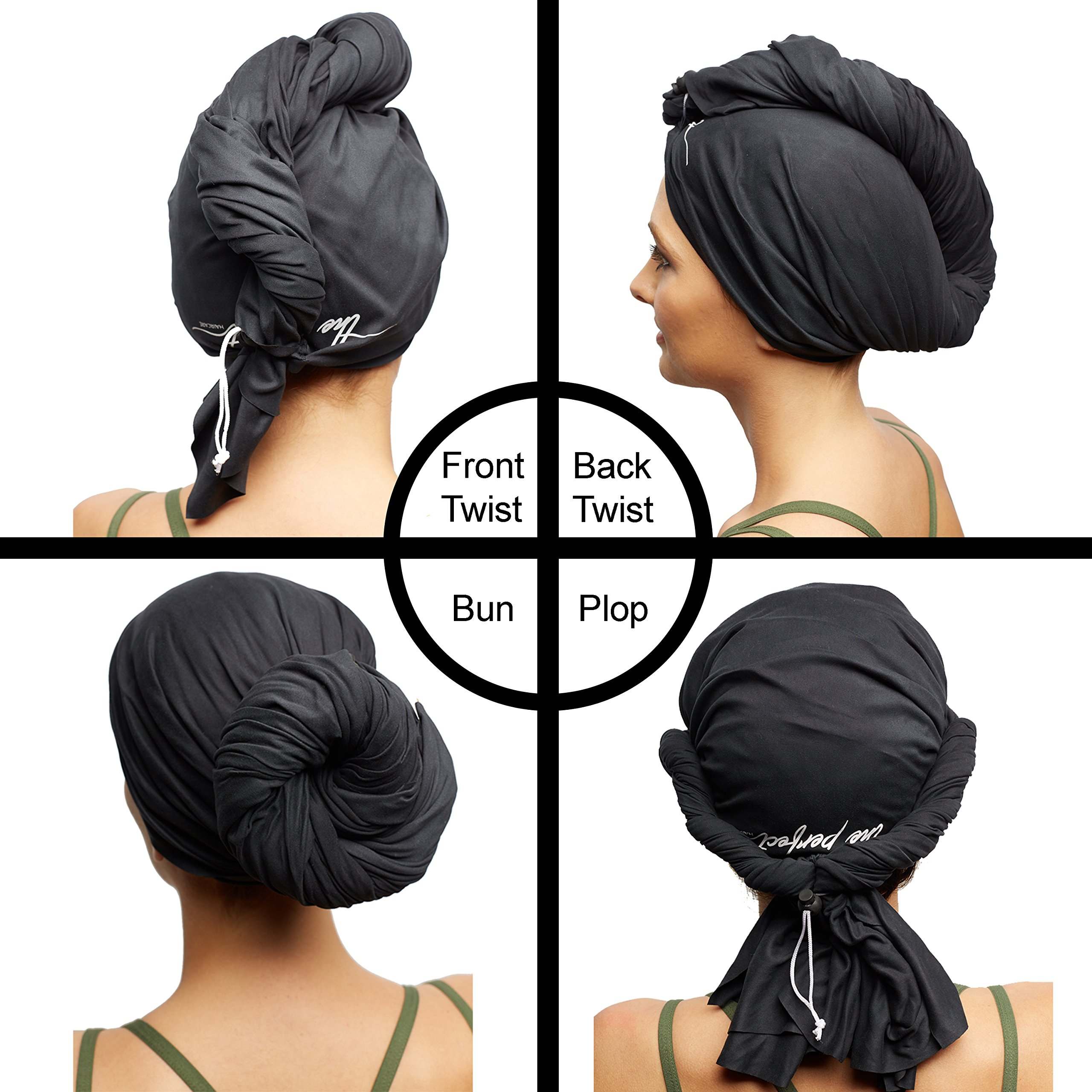 The Perfect Microfiber Hair Towel Wrap - Absorbent Turban for Fast, Anti-Frizz Drying - Never Falls Off Curly or Straight Hair - (38.5''x27.5'') Includes Wet or Dry Detangling Brush (Black) by The Perfect Haircare (Image #3)
