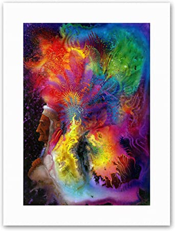 COLORFUL INDIAN HEADDRESS SHAMAN Picture Canvas art Prints