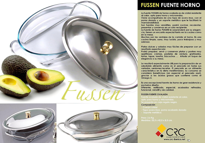 Fuente oval para horno y microondas de cristal con tapa y soporte de acero inox: Amazon.es: Hogar